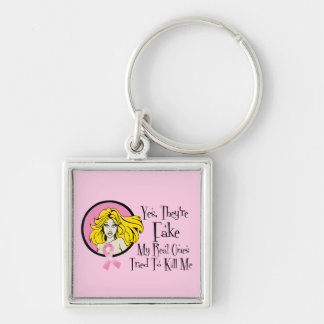 Yes They Are Fake Breast Cancer Survivor Key Chain