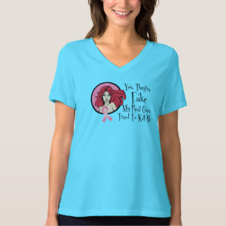 Yes They Are Fake Redhead Breast Cancer Survivor T-Shirt