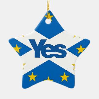 Yes to Independent European Scotland Ceramic Star Decoration