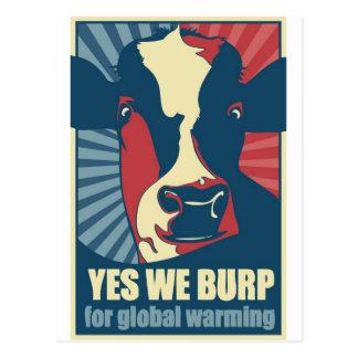yes we burp for global warming postcard