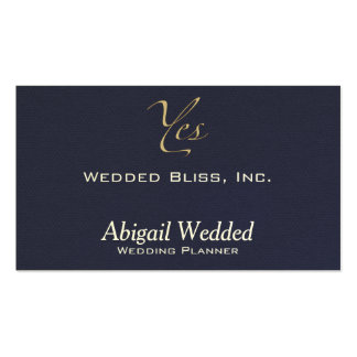 Yes - Wedding Planner - midnight faux flannel Double-Sided Standard Business Cards (Pack Of 100)