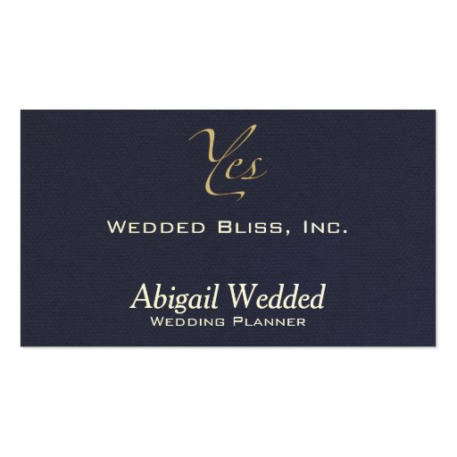 Yes - Wedding Planner - midnight faux flannel Business Card Template