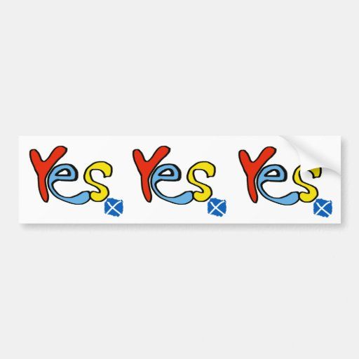 Yes Yes Yes Scottish Independence Flag Sticker Bumper Sticker