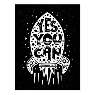Yes You Can Rocketship Postcard