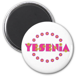 Yesenia in Flores Pink 6 Cm Round Magnet