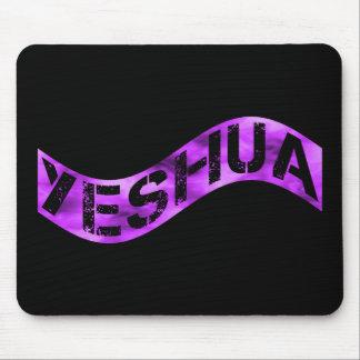 Yeshua Drapeau violet fond noir Mouse Pad