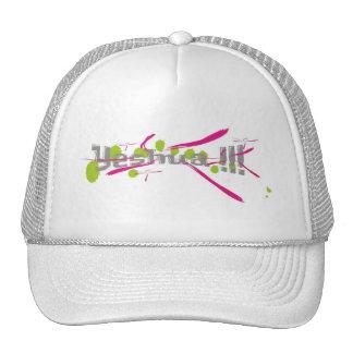 Yeshua !!! gris sur taches vertes traits roses hat