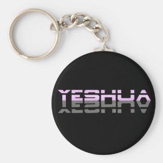 Yeshua Reflet Rose Gris Fond noir Basic Round Button Key Ring
