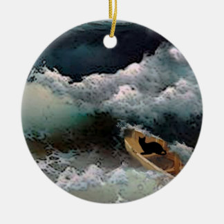 Yeshua's Cat: Storm Waves Christmas Ornament