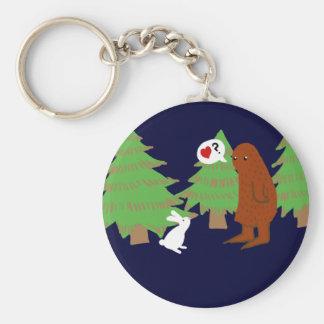 Yeti and Bunny Discuss Love Key Ring