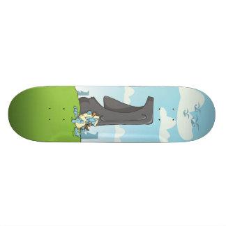 yeti drinking on easter island 21.6 cm old school skateboard deck