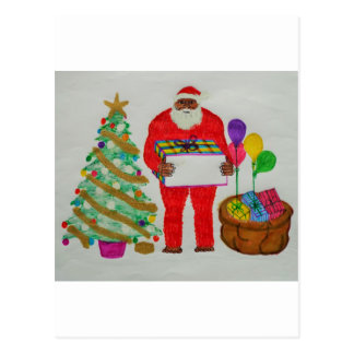 yeti father christmas postcard