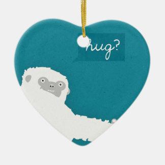 Yeti Hug Ceramic Heart Decoration