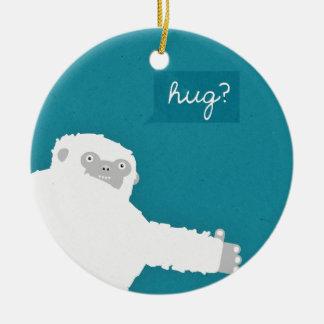 Yeti Hug Round Ceramic Decoration