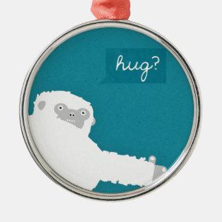 Yeti Hug Silver-Colored Round Decoration