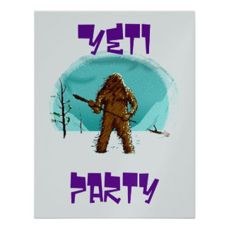 YETI SASQUATCH BIG-FOOT PARTY Metallic Invitation