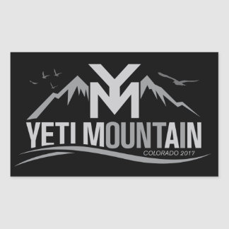 YetiMan Mountain Colorado 2017 Gray on Black Rectangular Sticker