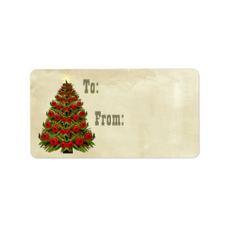 Yew and Juniper Berry Xmas Trees Oil Paint Address Label
