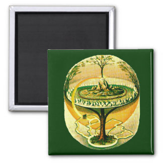 Yggdrasil, Tree Of Life Square Magnet