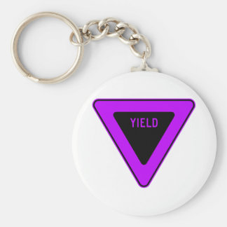 Yield Street Road Sign Symbol Caution Traffic Basic Round Button Key Ring