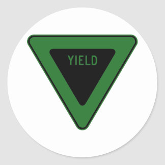 Yield Street Road Sign Symbol Caution Traffic Round Stickers