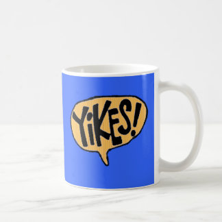 Yikes! Cartoon Exclamation Basic White Mug