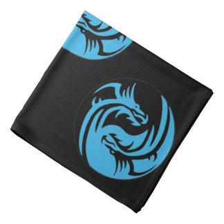 Yin and Yang dragons tribal black and blue Bandana