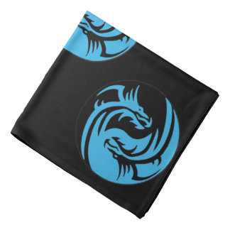 Yin and Yang dragons tribal black and blue Kerchiefs