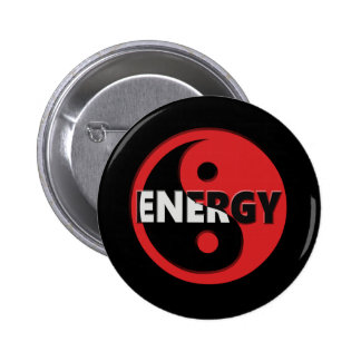 Yin and yang energy concept. 6 cm round badge