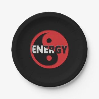 Yin and yang energy concept. 7 inch paper plate