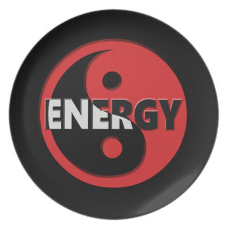 Yin and yang energy concept. plate