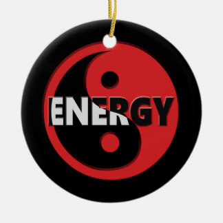 Yin and yang energy concept. round ceramic decoration