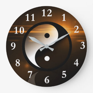 Yin and Yang Round Wall Clock