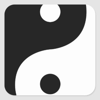 Yin And Yang Sides Square Sticker