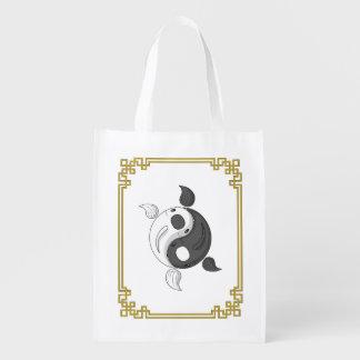 Yin and Yang the Koi Reusable Grocery Bag
