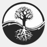 Yin and yang tree of life round sticker
