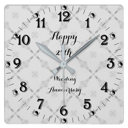 Yin Yang 25th Silver Wedding Anniversary Square Wall Clock