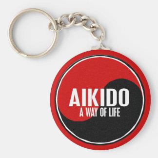 Yin Yang Aikido 1 Basic Round Button Key Ring