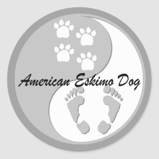 yin yang american eskimo dog round sticker