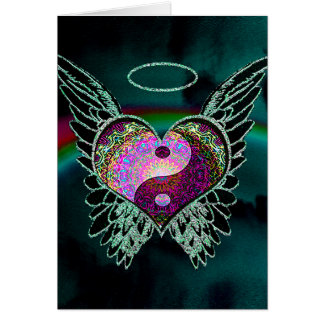Yin Yang, Angel Wings and Heart Card