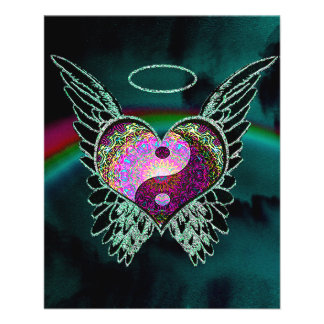 Yin Yang Angel Wings and Heart Personalized Flyer