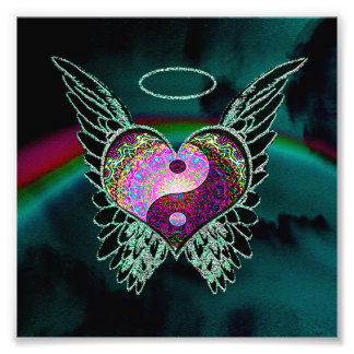 Yin Yang, Angel Wings, Heart and Space Photo Print