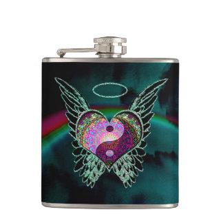 Yin Yang, Angel Wings, Heart and Stars Flask