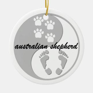 yin yang australian shepherd ornaments