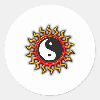 Yin Yang Balanced Sun Round Sticker