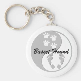 yin yang basset hound key ring