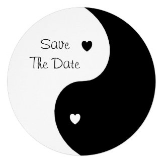 Yin Yang Black And White Save The Date Wedding Custom Announcement