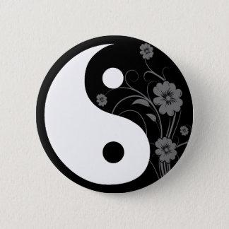 Yin Yang Black Floral Button