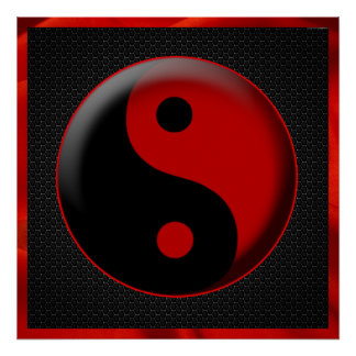 YIN YANG BLACK RED 3D POSTER