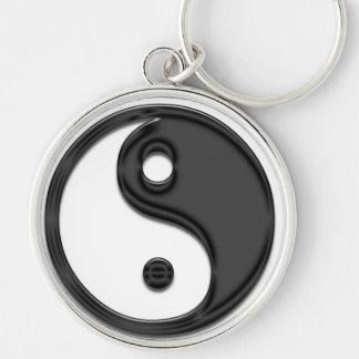 yin yang black Silver-Colored round key ring